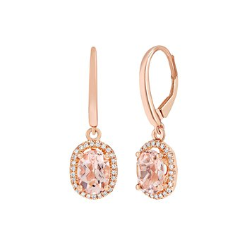 Oval Morganite Dangles with Halo in Rose
