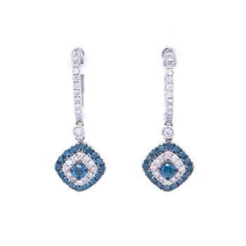Blue Diamond Dangle Earrings