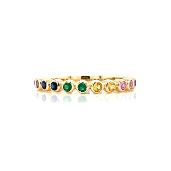 Colorful Sapphires Stackable Band