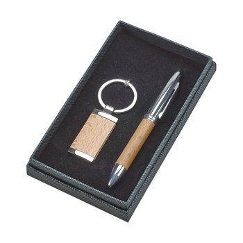 Wooden Pen & Key Ring Set