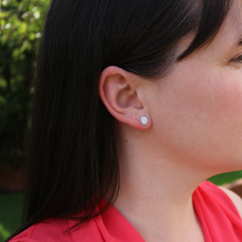 Round Diamond Halo Earrings - Lab Grown.