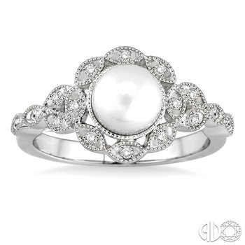 Vintage Style Pearl and Diamond Ring