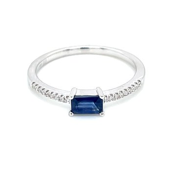 Stackable Style Sapphire& .05ct Diamond Ring