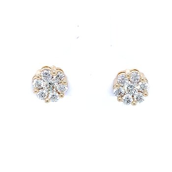 Flower Cluster Earrings 1ctw 10ky