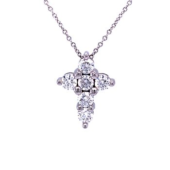 Petite Platinum and Diamond Cross Pendant