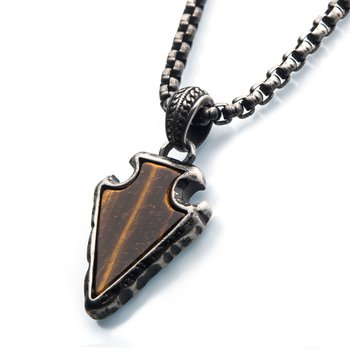 Tiger Eye Stone with Gun Metal Plated Frame Pendant on a Black Plated Bail with Black Plated Box Chain