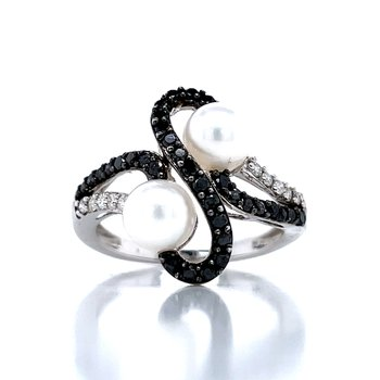 Black Diamond White Pearl Fashion Ring