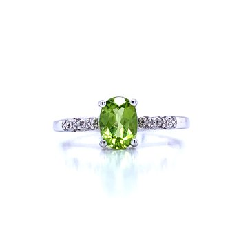 Peridot with Diamond Accents Ring