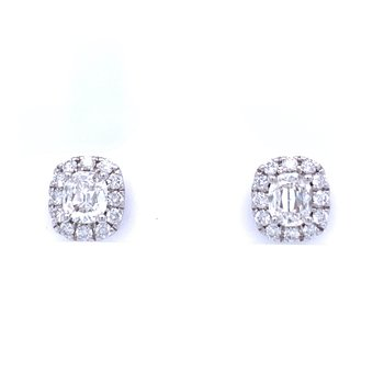 Cushion Cut with Cushion Halo Diamond Studs
