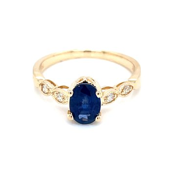 Sapphire with Scalloped Diamond Shank in 14ky