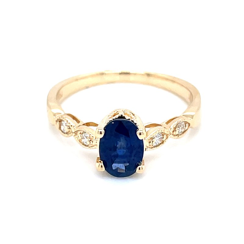 Bryan Beauties Sapphire with Scalloped Diamond Shank in 14ky