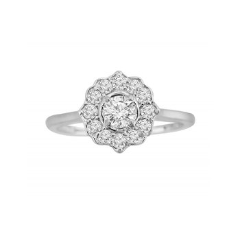 14kw Flower Engagement Ring