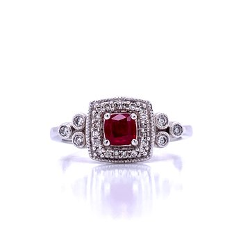 Ruby & Diamond Fashion Ring-14kw