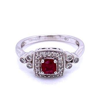 Ruby & Diamond Fashion Ring-14kw