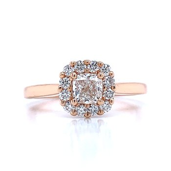 Cushion Halo Engagement in Rose