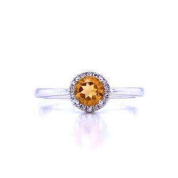 Citrine and Diamond Halo Ring