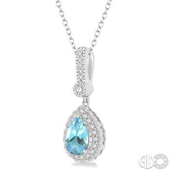 Vintage Style Aquamarine Pendant with Diamond Accents