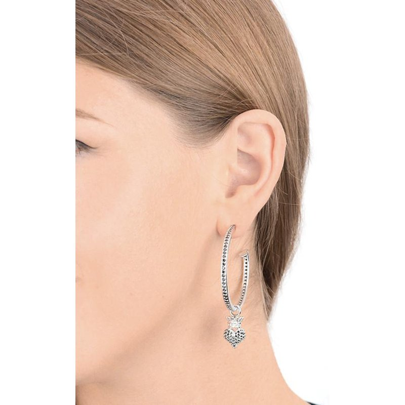 King Baby Pave Black CZ Crowned Heart Hoops