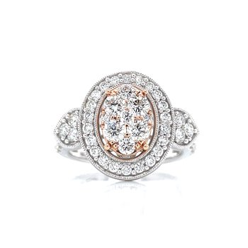 Rose Accented Oval Cluster Halo Engagement Ring