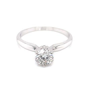 3/4 carat Round Brilliant Cut Diamond Solitaire-14kw