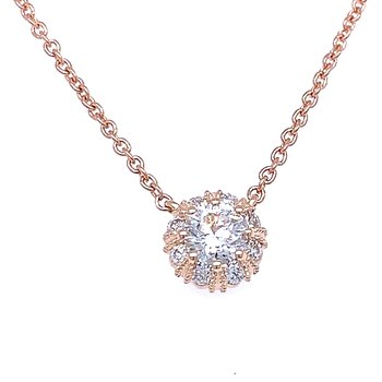 Simply Stunning Halo Necklace in Rose
