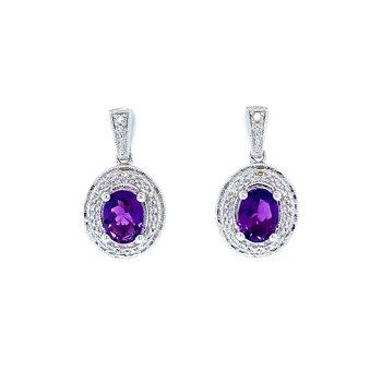 Oval Amethyst & Diamond Earrings