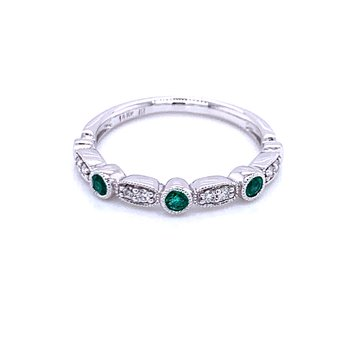 Emerald & Diamond Stackable Band