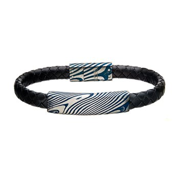 Damascus Steel Blue Plated ID with Black Leather Bracelet