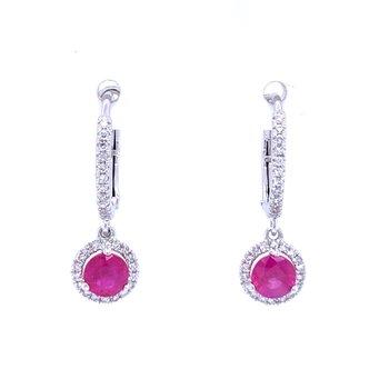 Ruby & Diamond Halo Dangle Earrings