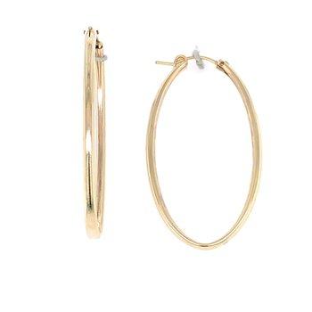Gold Hoop Earrings - Oval 50mm