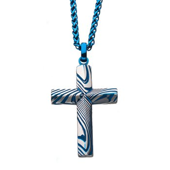 Stainless Steel and Black Plated Damascus Cross Pendant with Black Round Wheat Chain