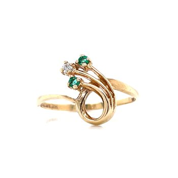 Freeform Emerald & Diamond Ring