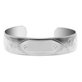 Engravable Cuff Bracelet with CZ Accents