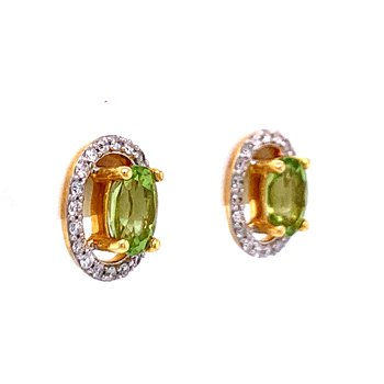 Oval Peridot with Halo Earrings