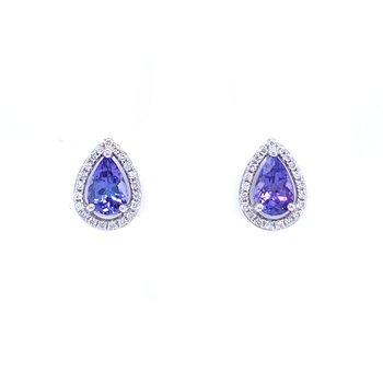 Pear Shaped Tanzanite & Diamond Earrings