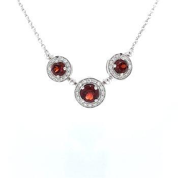 Three Stone Garnet & Diamond Necklace