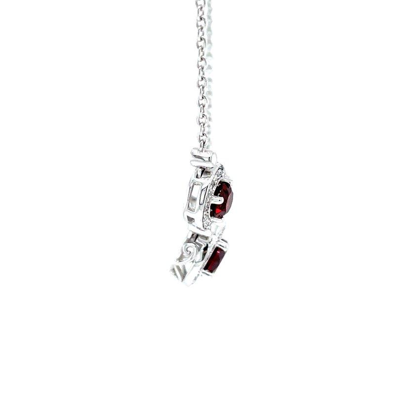 Bryan Beauties Three Stone Garnet & Diamond Necklace