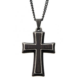 Stainless Steel with Antiqued Finish Cross Pendant with Chain