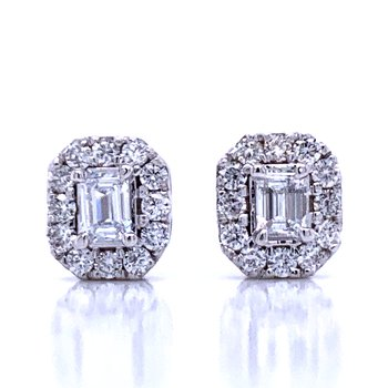 Emerald Cut Halo Earrings 1ctw