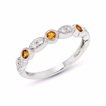Citrine & Diamonds Stackable Band