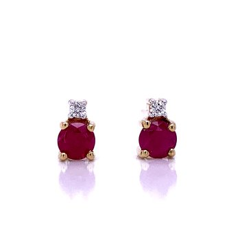 Ruby Studs with Diamond Accents