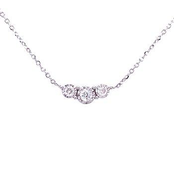 Three Stone Diamond Necklace-14kw