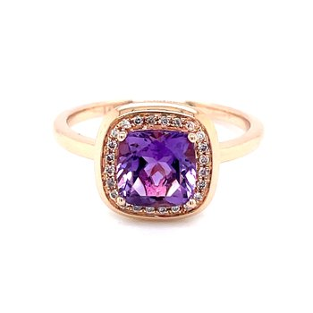 Amethyst with Halo in Rose