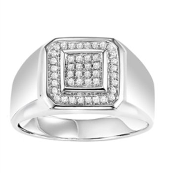 Gents Silver Ring with 1/4ctw diamonds