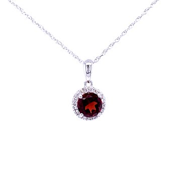 Garnet and Diamond Halo Pendant