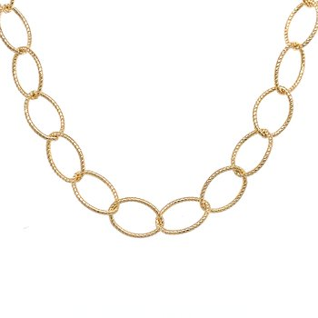 Long Textured  Link Gold Filled Chain