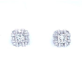 Princess Cut Halo Earrings