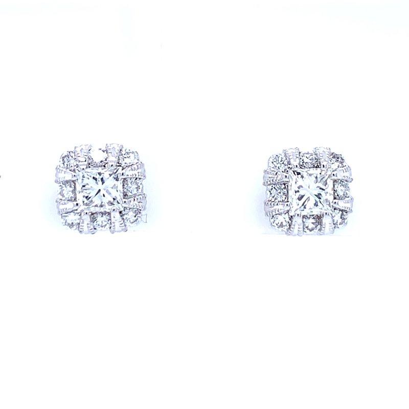 Bryan Beauties Princess Cut Halo Earrings
