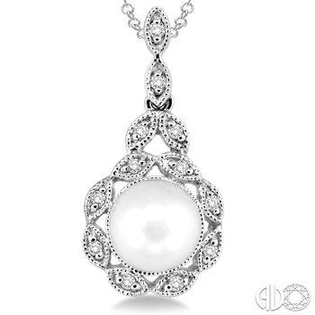 Vintage Style Pearl and Diamond Pendant