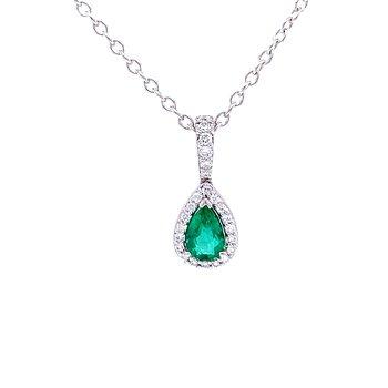 Pear Shaped Emerald & Diamond Pendant